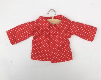 red dotted blouse