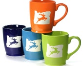 4 Oregon Stag Mugs - historical Portland landmark coffee cups in bright colors