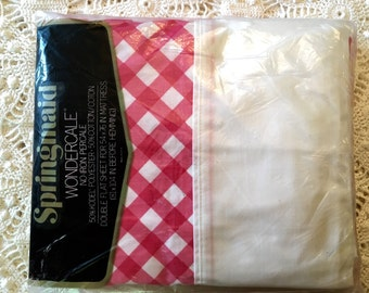 Lattice Springmaid Wondercale Full Red Check Flat Sheet - New in Package - NIP  NOS - Unused - New Vintage Flat Sheet