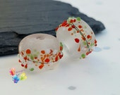 Lampwork Beads Festive Frosted Blossom Pair