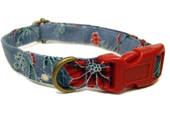 Poinsettia - Gray Red Poinsettia Flower Holly Christmas Winter Organic Cotton CAT Collar Breakaway Safety - All Antique Brass Hardware