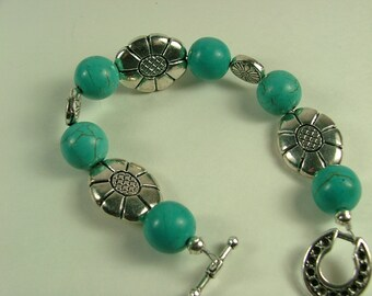 Turquoise (Howlite) and Silver bracelet