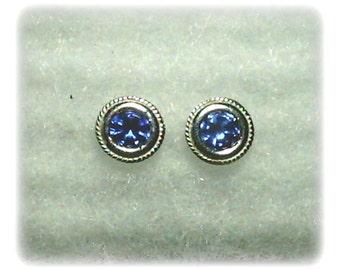 6mm Blue Cubic Zirconias in 925 Sterling Silver Backset Bezel Stud Earrings