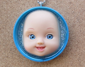 Wide Eyed - Upcycled Baby Doll Pendant