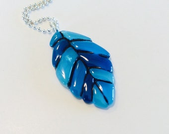 Fused Glass Leaf Pendant (Turquoise)