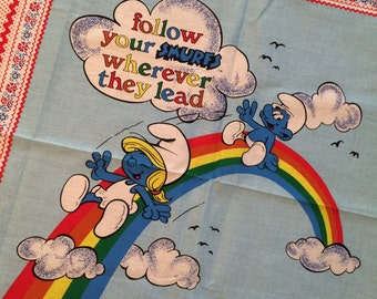 Vintage Smurf Fabric Panel : The Smurfs on a Rainbow - Follow your Smurfs wherever they lead 1982