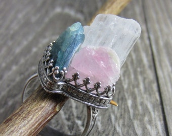 Angel Wings Ring - Raw Tourmaline and Angelic Petalite in Sterling Silver