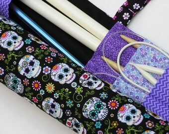 knitting needle case - knitting needle  organizer - circular  knitting needle case  - colorful sugar skulls 36 pockets