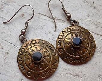 FREE SHIPPING Vintage Brass Dangle Pierced Earrings