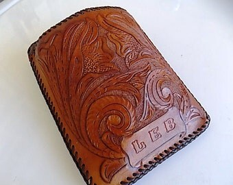 Vintage Brown Leather Handtooled Case Holder Organizer