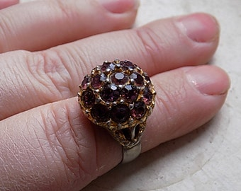 FREE SHIPPING Vintage Rhinestone Ring Purple Rhinestone Adjustable Band One Size