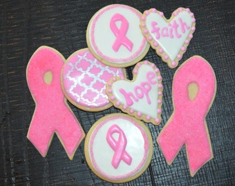 AWARENESS theme assorted decorated cookies. Breast cancer, MS, Multiple Sclerosis, Autism, hope, faith, ribbon