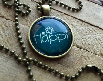 Necklace 'Happy' Looking Glass
