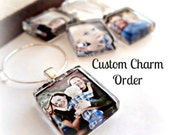 5 Custom Made Photo Wine Charm Party Favorsl Scrabble Size Glass l Fits on Coffee Cups, Champagne Glasses l Wedding, Brides, Mom, Grandma