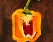 Still Life Oil Painting, Original Yellow Pepper, Small 6x6 Canvas, Orange Kitchen Decor, Wall Art, Square Format, Vegetable Slice