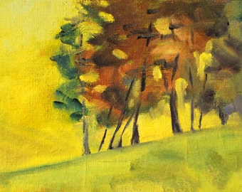 Landscape Oil Painting, Miniature Abstract Tree Art, Original, Small 5x7 Canvas, Yellow Green, Nature Scene, Rural Woodland, Wall Decor