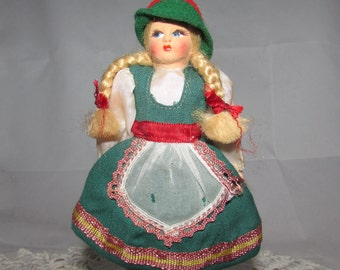 Vintage Souvenir Eros Florence Italy Young Girl Doll in Native Tirolo Costume, Blonde braids, 50s, cloth body, childs display, Maria