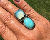 JUMA Jewelry - Double Big Ring in Kingman Turquoise and Blue Chalcedony - From My Bench