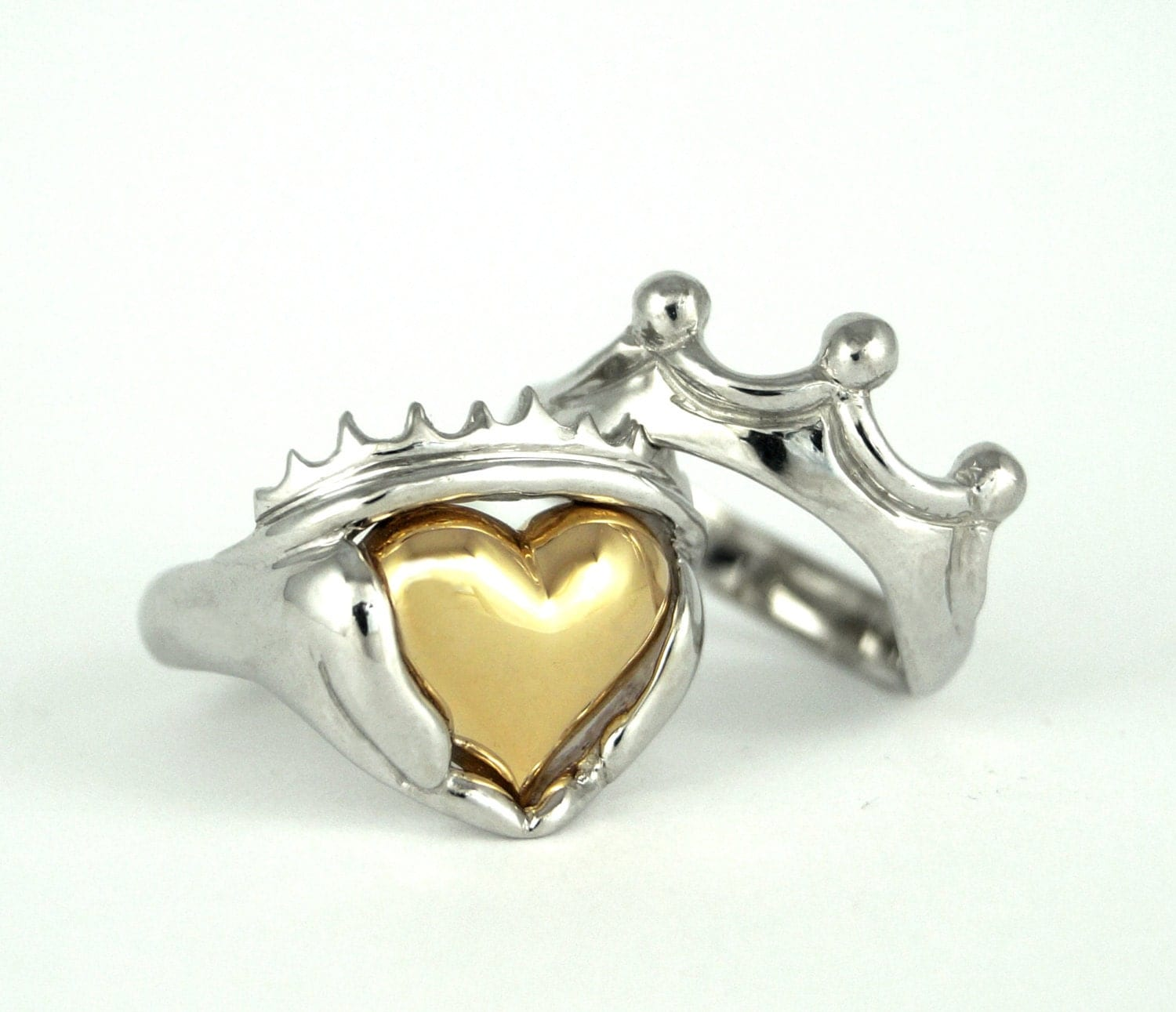 Two Tone Mens Claddagh Wedding And Engagement Ring Set  Handmade Gold  Silver Irish Jewelry, White Yellow Gold Or Platinum, Stacking Ring