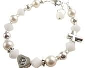 First communion Bracelet Alabaster Crystal & White Swarovski Pearl Cross Bracelet for Girls, for Baptism, Christening, Jewelry Gift