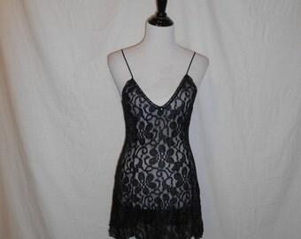 Vintage 80s 90s black lace nightie teddy  sheer