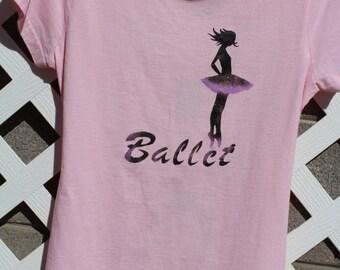 Ballet Dancer Tshirt, shredded, altered, dance tshirt, junior size medium