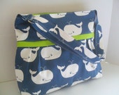 Diaper Bag - Blue Whale - Lime Green - Adjustable Strap - Whale Diaper Bag - Messenger Bag - Bags and Purses -  Stroller Straps