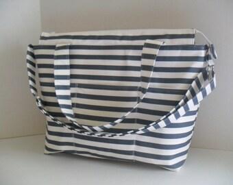 Stripe Diaper Bag - Faded Denim Blue and White Stripe - Nautical Diaper Bag - Diaper Bag - Stripe Bag - Messenger Bag - Laptop Bag