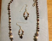 Georgeous GARNET with fresh water pearls-January and June birthstones!