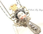 Queen For A Day Necklace Wearable Art Doll Pendant OOAK Statement Necklace Soldered Assemblage Necklace Lorelie Kay Original
