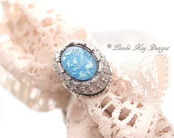 Rhinestones Opal Look Ring Look Ring Fine Silver Plated Statement Ring Shimmery Blues