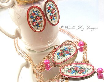 Shabby Matching Jewelry Set Recycled Tin Earring Necklace Bracelet Set Floral Motif Women  Summer Lightweight Jewelry
