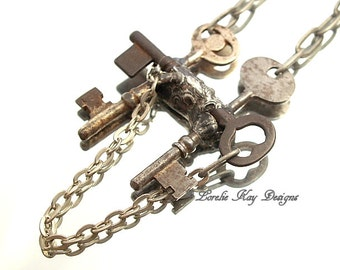 Skeleton Keys and Chain Necklace Steampunk Three Antique Keys Pendant Soldered Keys Lorelie Kay Original