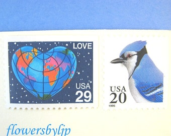 Blue Postage Stamps Unused Vintage, Love Globe Heart Stamp, Blue Jay Stamp, Mail 10 Letters RSVPs Cards 1 oz 49 cents love postage 2017 rate