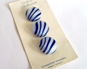 Vintage Blue and White Stripe Glass Buttons by Schwanda - Original Card