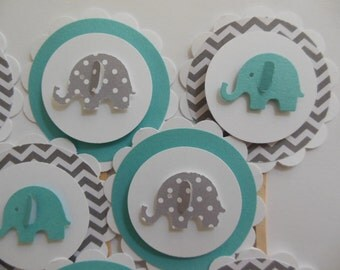 Elephant Cupcake Toppers - Teal,Gray and White - Chevron - Polka Dots - Gender Neutral Shower Decor - Gender Neutral Birthdays - Set of 12