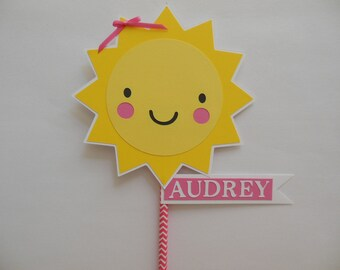 You Are My Sunshine Smash Cake Topper -Yellow, Pink and White - Girl Party Decorations - Girl Photo Prop
