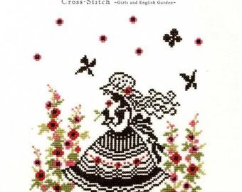 Cross Stitch Girls and English Garden Designs Patterns - Japanese Craft Book