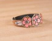 Leather Wrap Bracelet for Women - Single wrap skinny cuff bracelet with flowers and leaves in the Dakota pattern