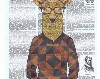 Hipster.Deer.argyle.geometric.Glasses.Cool.antique book page print.stylish.paris.nursery.den.home deco.art.eco.boyfriend.fahionista.guy gift