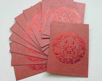 Double Happiness - Floral Chinese Wedding Cash Envelopes (Red/Maroon Small 10 pcs)