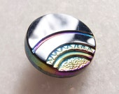 Vintage Czech Iridescent Very Deco Stepped Glass Button - 18mm
