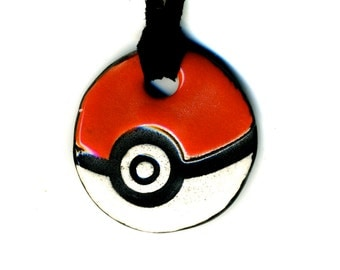 Small Poké Ball Ceramic Necklace