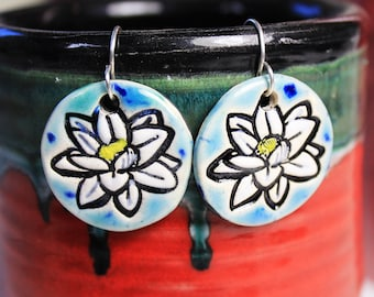 Lotus Flower Earrings in Blue