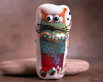 Artisan Glass Focal Bead Whimsical Cat & Owl Divine Spark Designs SRA