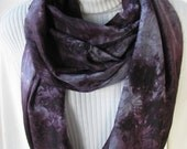 Hand Dyed Silk Infinity Scarf for Women -  Deep purple and silver gray scarf gifts for her winter scarf winter fashion holiday fashion