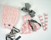 Blythe Doll Dress, Blythe Hat, Blythe Dress, Blythe Socks, Blythe Outfit. Cats, Pink
