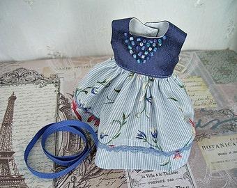 Dress for Blythe Doll, Blue Floral n Silk