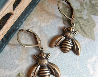 Antiqued Brass Bee Leverback Earrings  Honeybee Insect Nature Woodlands Inspired Gift for Her