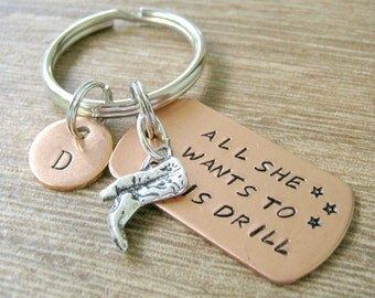 Drill Team Keychain, All She Wants To Do Is Drill Keychain, hand stamped with boot charm, optional personalized initial disc